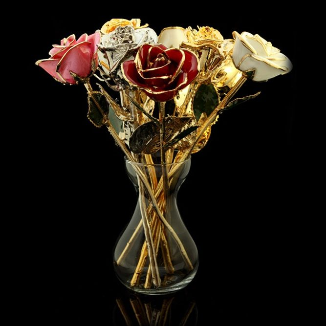 24k Gold And Platinum Roses